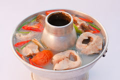 Hot and Spicy Snake head Fish soup. Royalty Free Stock Photos