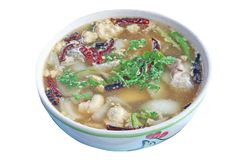 Hot spicy sour soup with spawn fish isolated on white background,Local food of Thailand royalty free stock photo