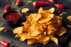 Hot Spicy Sriracha Potato Chips Stock Photography