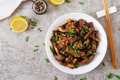 Hot spicy stew eggplant in Korean style with green onion. royalty free stock images