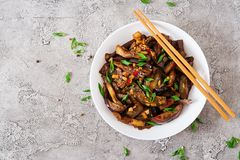 Hot spicy stew eggplant in Korean style with green onion. stock images