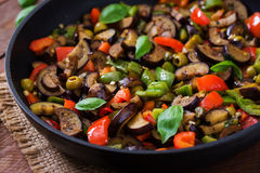 Hot spicy stew eggplant, sweet pepper, olives and capers. Stock Image