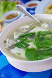 Hot and spicy Thai style mackerel soup stock image