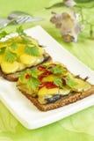 Hot sprats sandwich Royalty Free Stock Photography