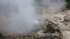 Hot spring with boiling water at the Caldeiras in the city of Furnas, Sao Miguel island, Azores. stock video footage