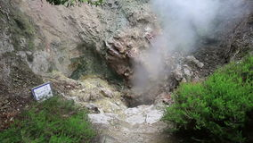 Hot spring with boiling water at the Caldeiras in the city of Furnas, Sao Miguel island, Azores. stock footage