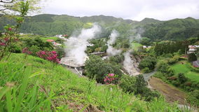 Hot spring with boiling water at the Caldeiras in the city of Furnas, Sao Miguel island, Azores. stock video