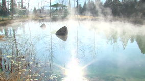 Hot spring in complex Rupite, Bulgaria. Temple of Saint Petka built Vanga, Bulgarias tourist attractions, a place of pilgrimage for fans in Rupite stock video footage