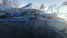 Hot spring geothermal spa on Kamchatka Peninsula stock video footage