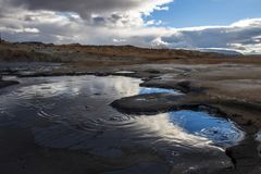 Hot spring at geothermal / volcanic area royalty free stock image