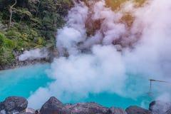 Hot spring  (Hell) blue water in Umi-Zigoku in Beppu Oita, Japan Royalty Free Stock Image