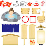 Hot-spring icons. Japanese hot spring illustrations. spa icons Royalty Free Stock Image