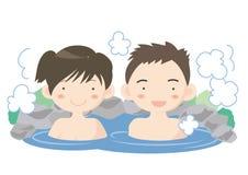 Hot spring image - couple royalty free illustration