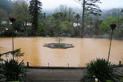 Hot spring iron water. Thermal pool in Terra Nostra  tropical garden, Furnas, Sao Miguel, Azores, Portugal Stock Photo