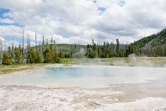 Hot Spring Landscape. This was a hot spring at Yellowstone National Park that had an interesting shoreline with uneven edges. The slightly blue pool against the Royalty Free Stock Images
