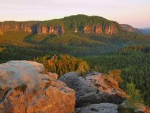 Hot spring misty sunrise in a beautiful rocky park. Sandstone peaks Stock Image