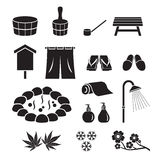 Hot Spring Objects Icons Set, Monochrome Stock Photos