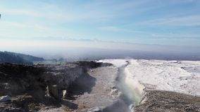 Hot spring in Pamukkale, natural site in Denizli Province in southwestern Turkey stock footage