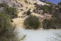 Hot spring pool of Bagno Vignoni in Tuscany Royalty Free Stock Images