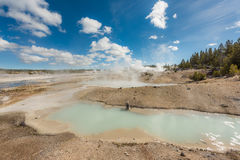 Hot spring pools with blue colors and steam geysers Stock Images