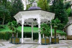 Hot spring Pramen Sadový in Karlovy Vary (Karlsbad) Stock Images
