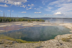 Hot Spring in Remote Wilderness. Abyss Pool Overlooking Yellowstone Lake in Yellowstone National Park Royalty Free Stock Photo
