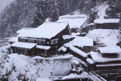 Hot spring resort in snow Stock Image
