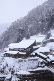 Hot spring resort in snow Stock Photos