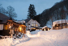 Hot spring resort in snow Royalty Free Stock Photography