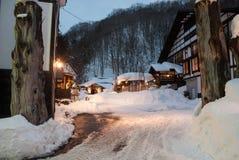 Hot spring resort in snow Royalty Free Stock Image