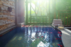 Hot spring resort. Hot springs China's tourism Eastern health Natural oxygen bar Chinese elements Hot spring pool The sun stock photography
