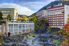 Hot Spring Resort Town in Hokkaido, Japan Royalty Free Stock Images