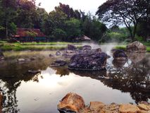 Hot spring. With rock Royalty Free Stock Photo