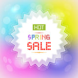 Hot Spring Sale Background. Hot Spring Sale Tag on Colorful Background Royalty Free Stock Image