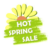 Hot spring sale with flower, green drawn label Royalty Free Stock Image