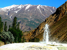 Hot spring. Source of hot water in the village of Khoja Obigarm in the Mountainous Badakhshan region of Tajikistan Stock Photography