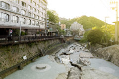 Hot spring stream flowing pass town centre of Arima Onsen in Kita-ku, Kobe, Japan. Stock Images