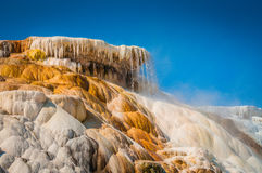 Hot spring. Water spills over the side of a hot spring pool Stock Photo