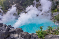 Hot spring  & x28;Hell& x29; blue water in Umi-Zigoku in Beppu Oita, Japan Royalty Free Stock Images