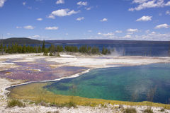 Hot spring at Yellowstone lake. Yellowstone Lake is the largest body of water in Yellowstone National Park. The lake is covered with small hot springs Royalty Free Stock Photos