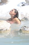 Hot Springs. A girl who truly couldn't look any more at peace Stock Photos
