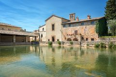Hot springs bath in the village of Bagno Vignoni, Tuscany Italy. Hot springs bath in the village of Bagno Vignoni in Tuscany Italy Royalty Free Stock Photo