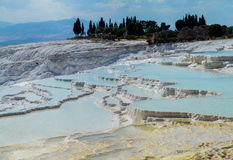 Hot springs and cascades at Pamukkale in Turkey Royalty Free Stock Images