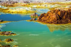 Hot Springs dans Dallol, désert de Danakil, Ethiopie Photo stock
