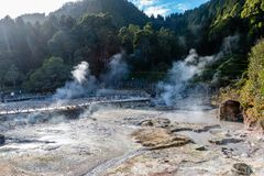 Hot springs, Furnas, Sao Miguel Island, Azores, Portugal royalty free stock photography