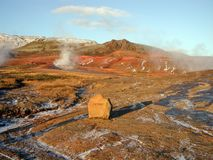 Hot springs in Geysir, Iceland. Pic of the thermal area, Geysir, in Iceland Stock Photos