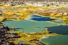 Hot Springs i Dallol, Danakil öken, Etiopien Royaltyfri Foto
