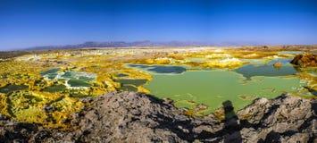 Hot Springs i Dallol, Danakil öken, Etiopien Arkivfoto