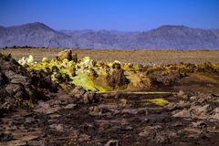 Hot Springs i Dallol, Danakil öken, Etiopien Arkivbild