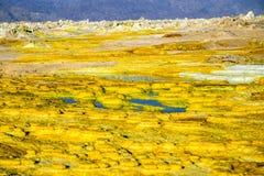 Hot Springs i Dallol, Danakil öken, Etiopien Arkivfoton